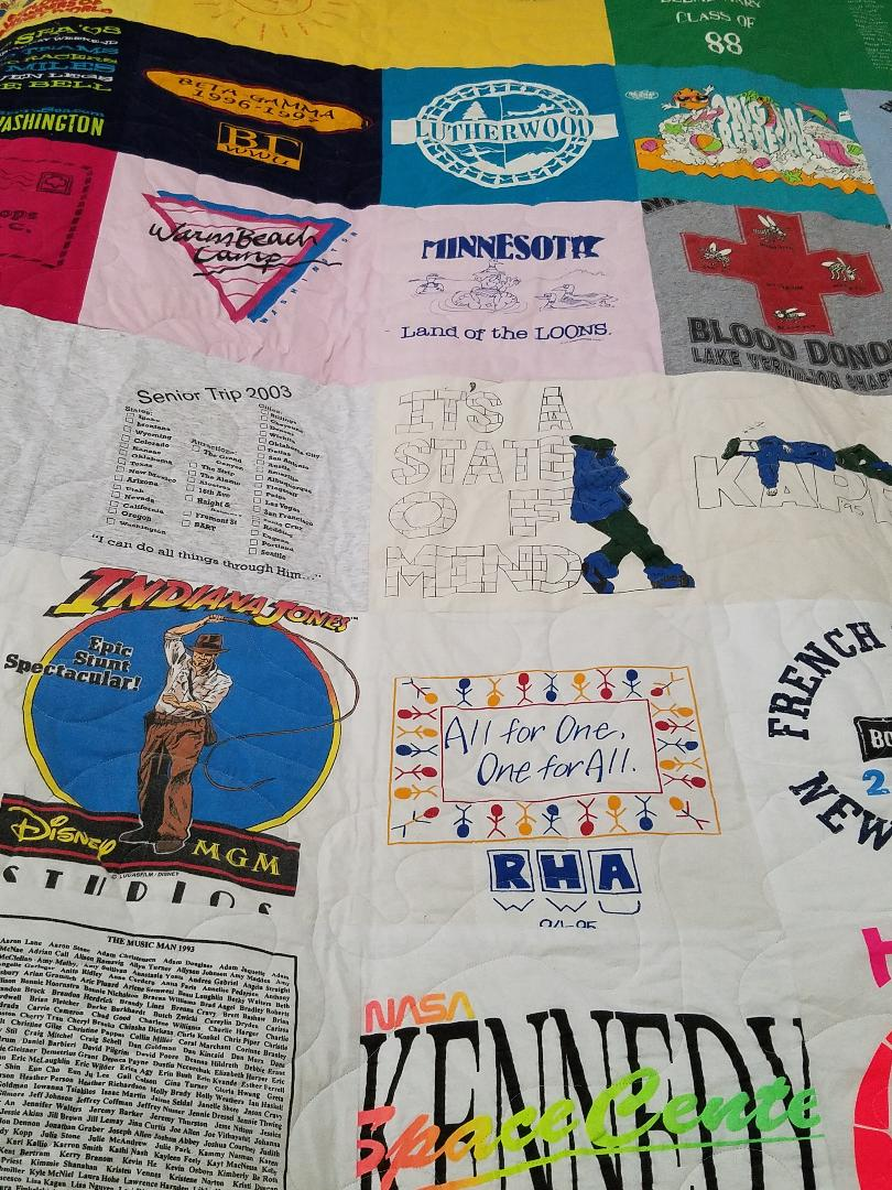 tshirt quilt closer look